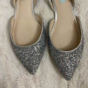Betsy Johnson Silver Sparkle Flats